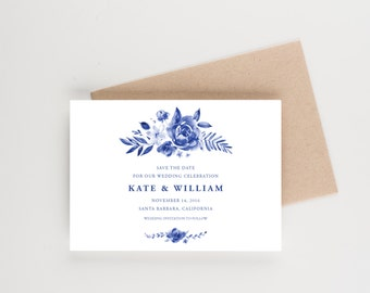 Blue Watercolor Save The Date, Watercolor Illustration, Wedding Announcement