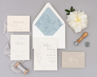 Modern Hand Sketched Invitations, Wedding Announcements