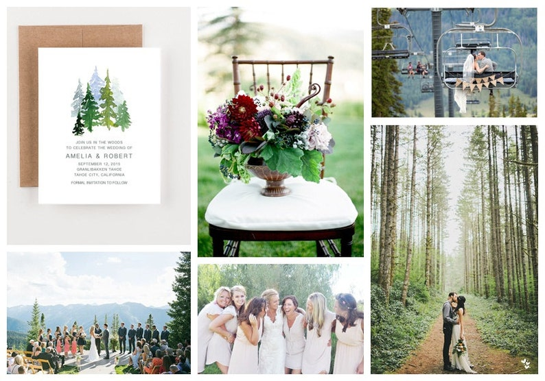 Watercolor Pinetrees In The Woods Wedding Invitations Bohemian Watercolor Wedding Invitations Woodland Wedding Invitations