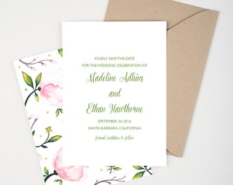 Pink Peony Save The Date, Watercolor Botanical, Pink and Green, Wedding Announcement