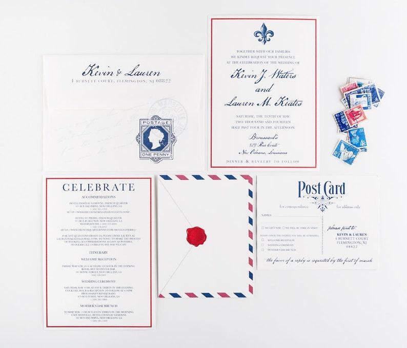 Airmail Travel Wedding Invitation Transcontinental Wedding image 0