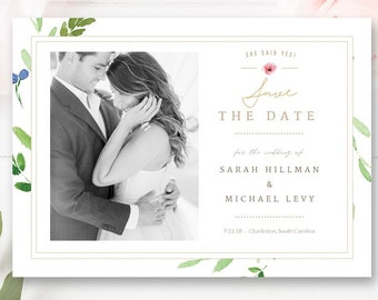 Watercolor Botanical Photo Save The Date, Floral Save The Date