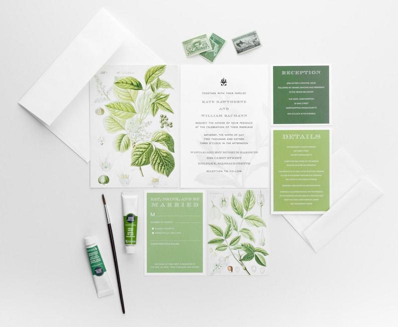 Botanical Wedding Invitations  Floral Wedding Invitation  image 0