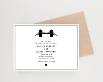 Brooklyn Bridge Save The Date Illustration, Brooklyn, New York, Destination Wedding, Wedding Announcement
