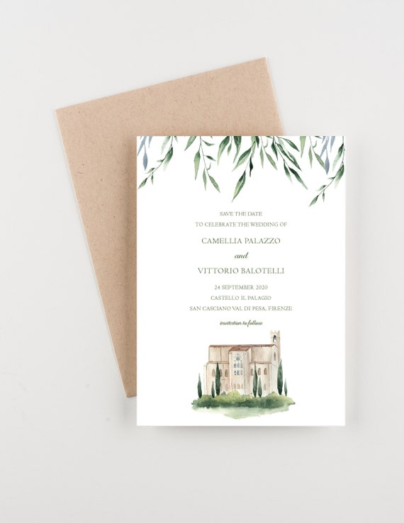 Italian Castle Save The Date Wedding Invitation