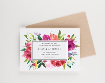 Floral Botanical Save The Date, Watercolor Bridal Shower, Wedding Invitation