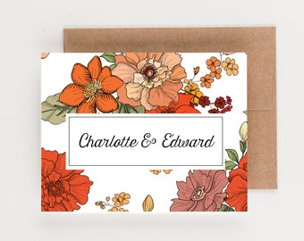 Couples Personalized Stationery, Wedding Stationery, Boxed Set, Thank You Note, Rustic Floral Collection