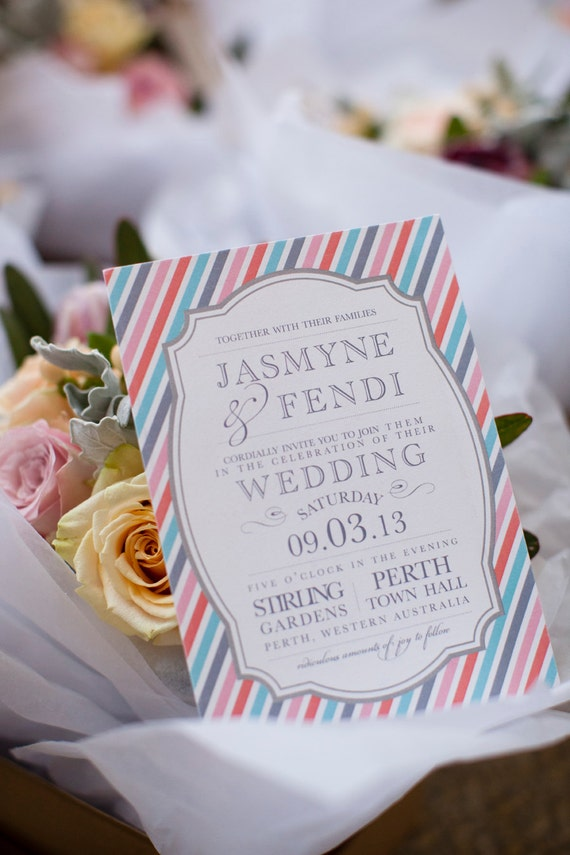 Retro Stripe Vintage Frame Wedding Collection as featured by Merge Photography Wedding Invitation