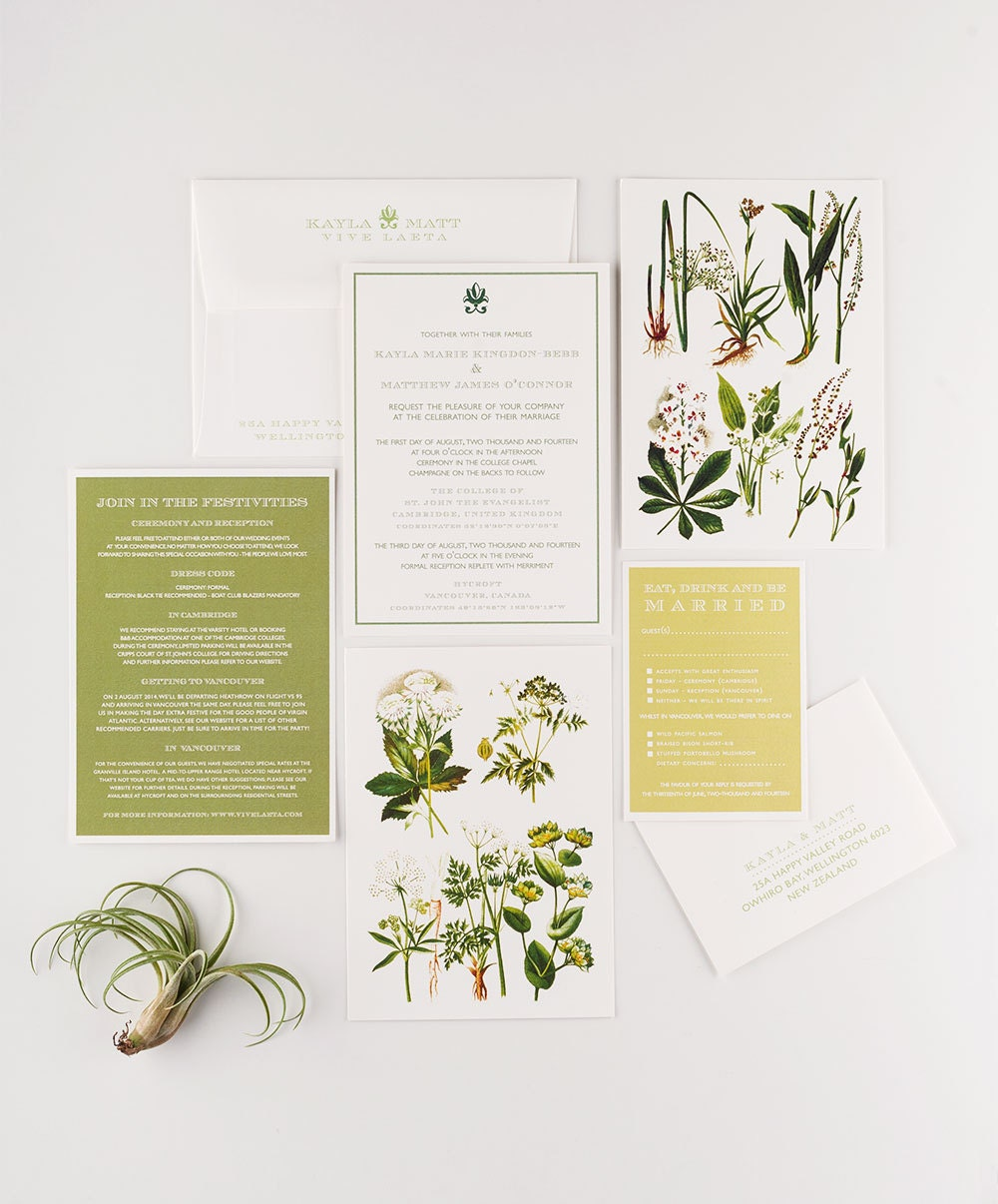 When Should Wedding Invitations Be Ordered: Wedding Invitation Vintage Botanical Garden Wedding