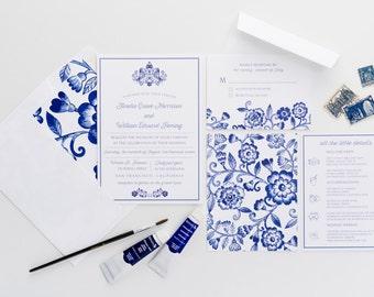 Blue Floral Wedding Invitations, Watercolor China Pattern Invitations
