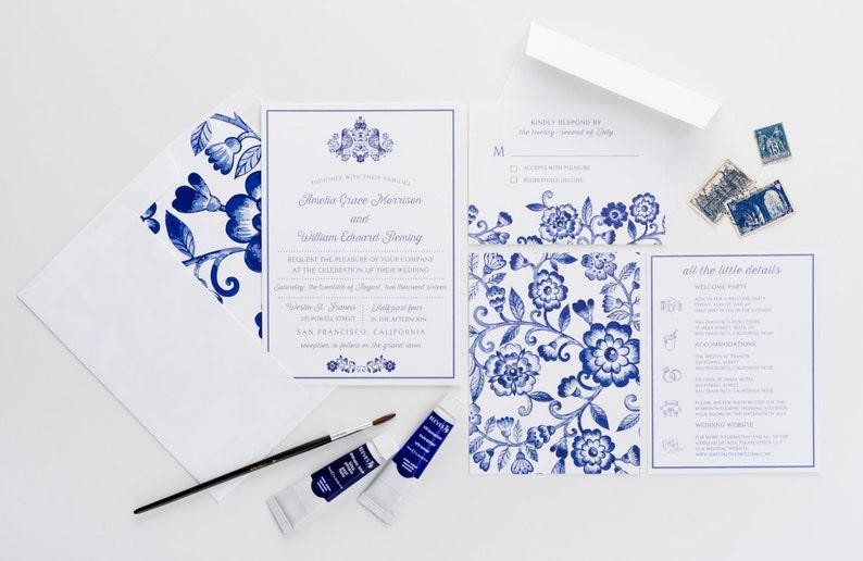 Blue Floral Wedding Invitations  Watercolor Blue Invitations image 0