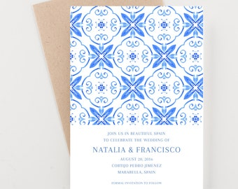 Spanish Tile Save The Date, Destination India, Bridal Shower, Wedding Invitation