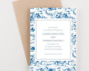 Blue Toile Save The Date, Watercolor Illustration, Wedding Announcement