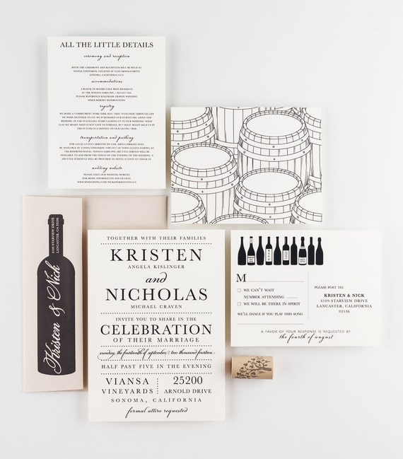 vineyard invitations wine invitations california wedding etsy