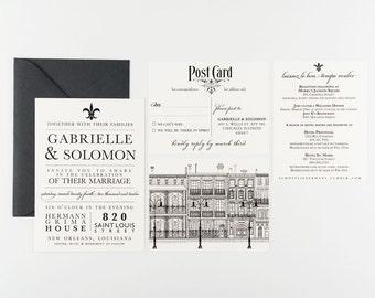 Wedding Invitation, Laissez Les Bon Temps Rouler Wedding Collection, Destination New Orleans, French Quarter Real Wedding