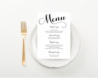 Classic Calligraphy Wedding Menu, Bridal Shower, Rehearsal Dinner Party or Baby Shower