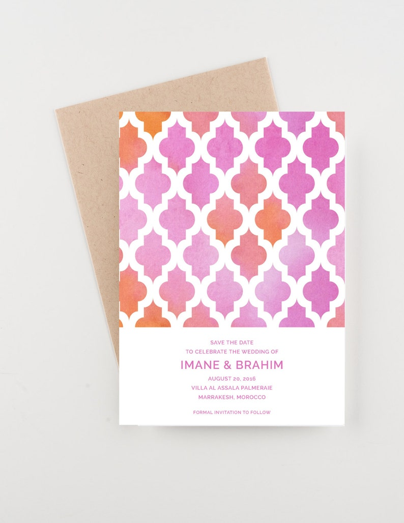 Morocco-Themed Save the Date and Wedding Invitations in Pink and Purple Watercolor