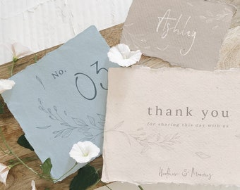 Rustic Ivory and Blue Hand Sketched Invitation Collection, Botanical English Invitation