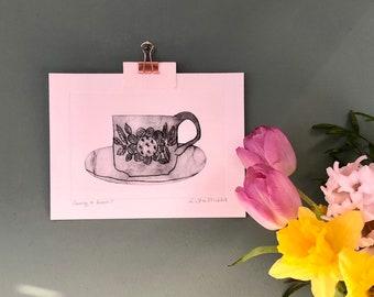 Fancy a brew? Original handmade drypoint etching print