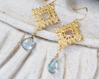 Mystic Blue Quartz 14k Gold Plated Filigree Lace Earrings