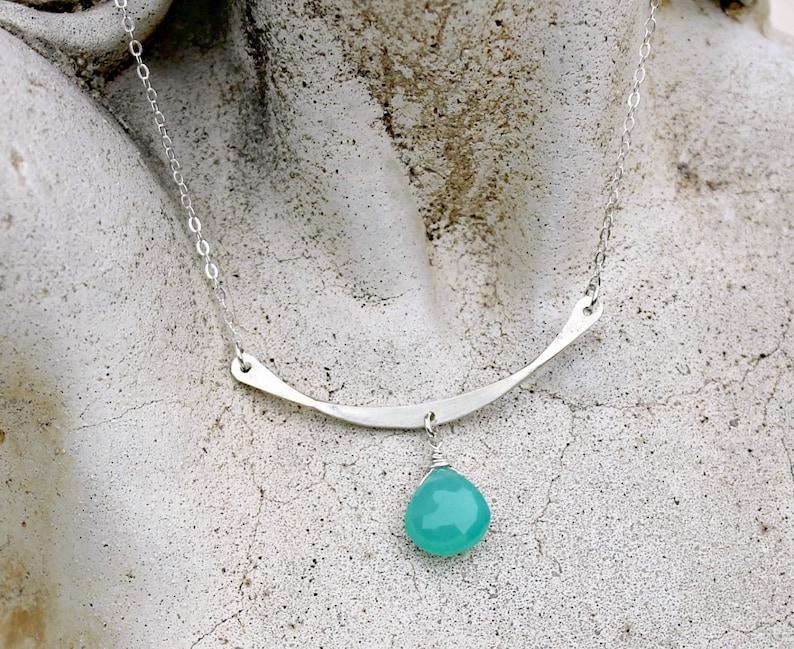 Gift for Her Minimalist Sterling Silver Bar Gemstone Necklace Teal Gemstone