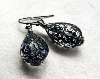 Black Teardrop Earrings, Etched, Lightweight, Gift under 15