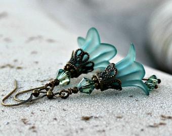 Frosted Teal Lucite Flower Earrings, Bohemian, Swarovski, Antique Brass