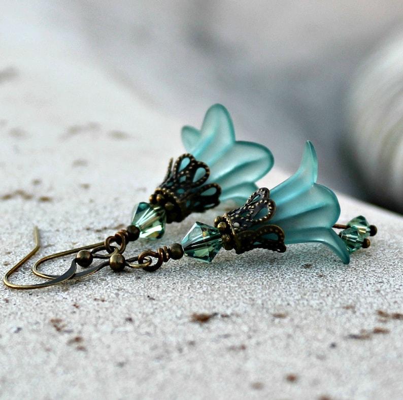 Frosted Teal Lucite Flower Earrings Bohemian Swarovski image 0