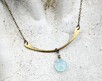 Bar Necklace, Aqua Chalcedony Gemstone, Brass, Minimal, Gift under 25