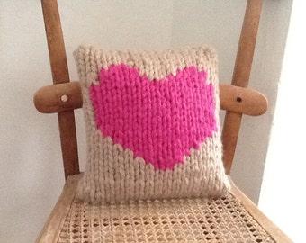 Hand knitted love cushion 9x9