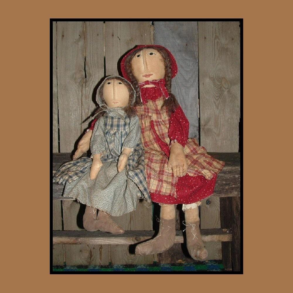 Prairie Doll Sisters Primitive Folk Art Instant Dowload Etsy