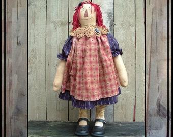 INSTANT DOWNLOAD pdf digital e pattern Primitive Folk Art Raggedy Ann doll sewing pattern 345