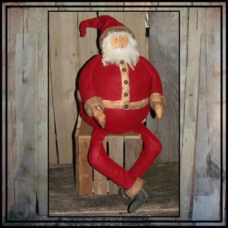 Primitive Folk Art roly poly fat round Santa instant download image 0