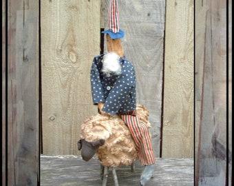 SALE mailed paper pattern Primitive Folk Art Uncle Sam on Sheep sewing pattern 395