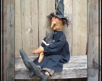 Primitive folk art soft sculpted witch with cat instant download digital PDF pattern 205