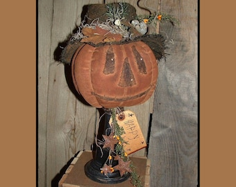 Primitive folkart pumpkin w mouse make do instant download HAGUILD HAFAIR ofg faap 109