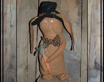 SALE mailed paper pattern Primitive Folk Art rabbit and carrot  sewing pattern 337