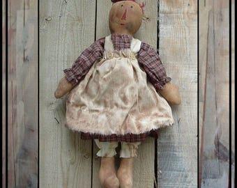 Digital instant download PDF pattern simple Primitive folk art raggedy embroidery floss hair  rag doll 282