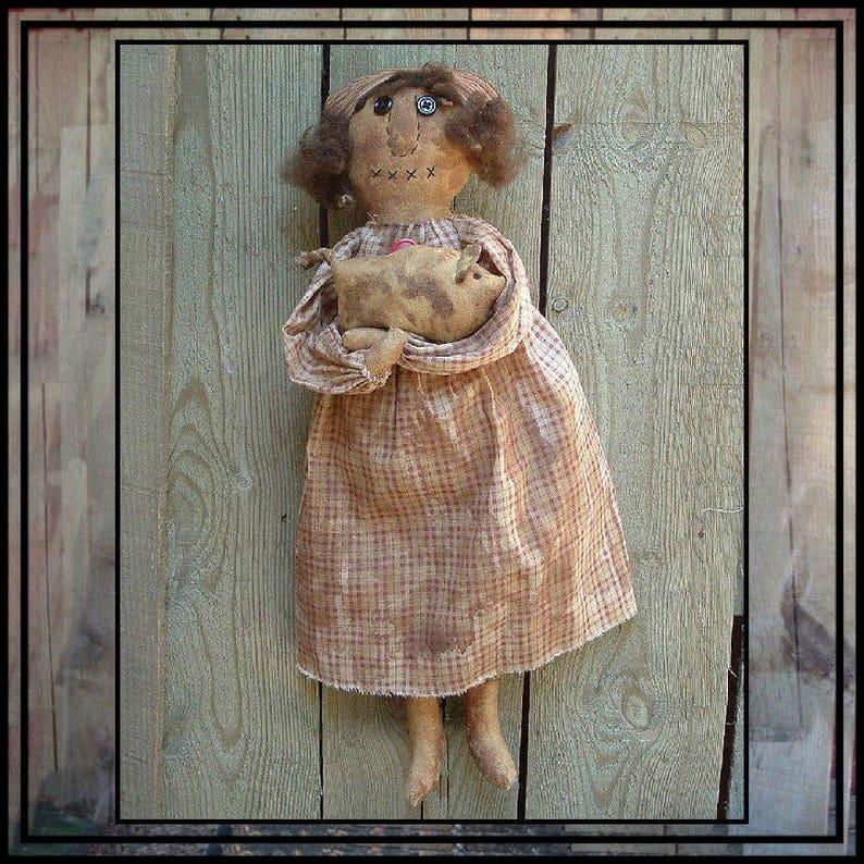 SALE mailed paper pattern Primitive folk art rag doll with her image 0