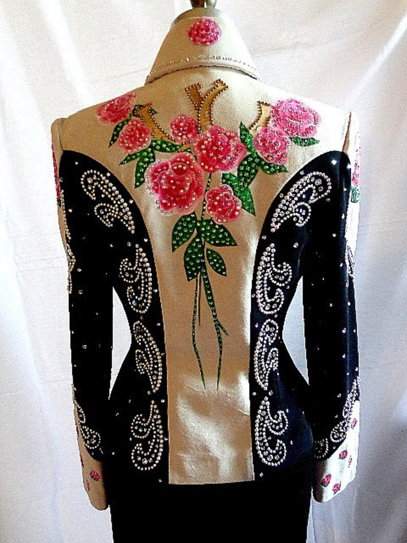 golden horseshoes w Pearl design Susan Lunenfeld Western Show Jacket hand painted pink Roses