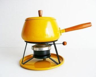Vintage Fondue Pot, Fondue Set, Mustard Yellow, Mid Century Modern, Enameled Metal and Wood, Fondue Party, Bright Kitchen Decor