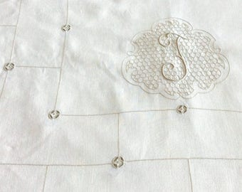 Banquet Tablecloth in Cream Linen with Monogram 72 x 144 Vintage Table Linens