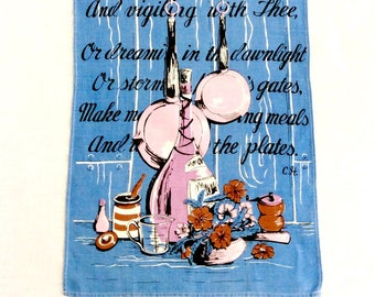 Linen Towel Kitchen Prayer Lord of the Pots and Pipkins Vintage Tea Towels