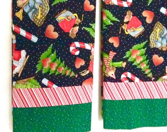 2 Christmas Pillowcases Whimsical Mice Candy Canes All Cotton