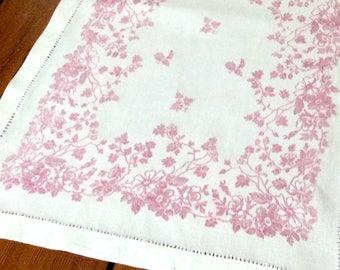 Antique Linen Table Runner Lavender Damask Flowers 54 Inches Vintage Table Linens