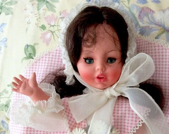 Furga Doll in Pink Gingham, White Bonnet, Dark Hair, Daisies, Made in Italy with Box, Vintage Dolls