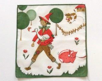Fairy Tale Handkerchief Grimms Fairy Tales Hans in Luck Cotton Print 1960s Vintage Handkerchiefs
