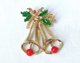 Christmas Pin Gold Bells with Enamel Holly Red Green Christmas Jewelry