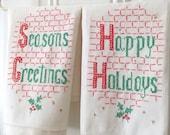 2 Vintage Linen Towels Christmas Cross Stitch