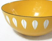 8 Inch Vintage Cathrineholm Yellow Bowl Small Lotus